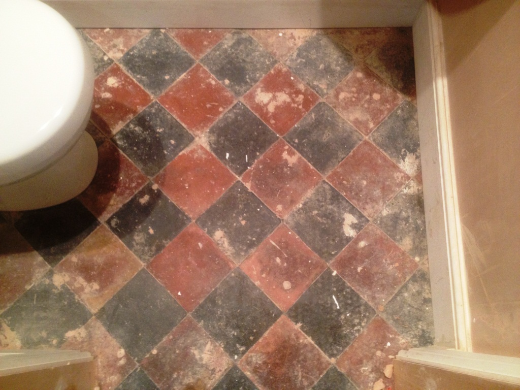 Quarry Tiles In Great Ouseburn Before Cleaning