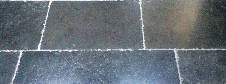 Grout Haze on Expensive Tumbled Limestone Tiles in Shipley