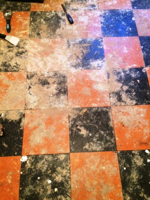 Linoleum Tiled Floor Before Restoration in York