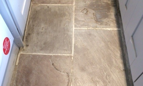 Indian Fossil Stone Floor in Terrible Condition Restored in Skipton
