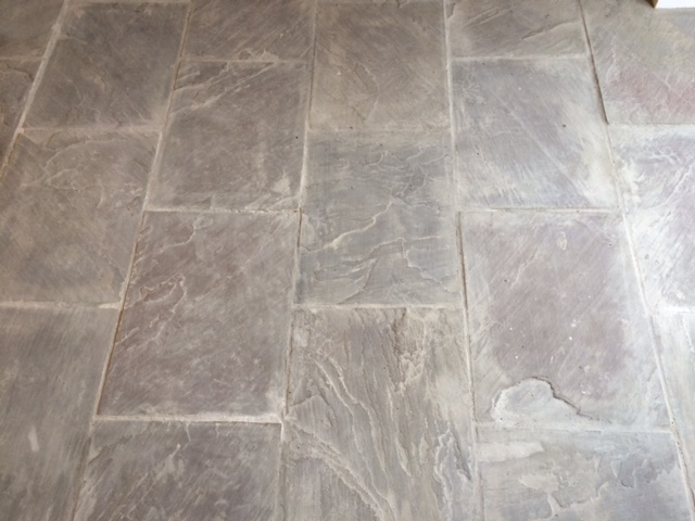 Indian Fossil Stone floor Before Cleaning in Skipton