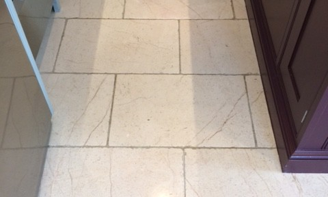 Dirty White Limestone Tiles Restored Through Burnishing in Knaresborough