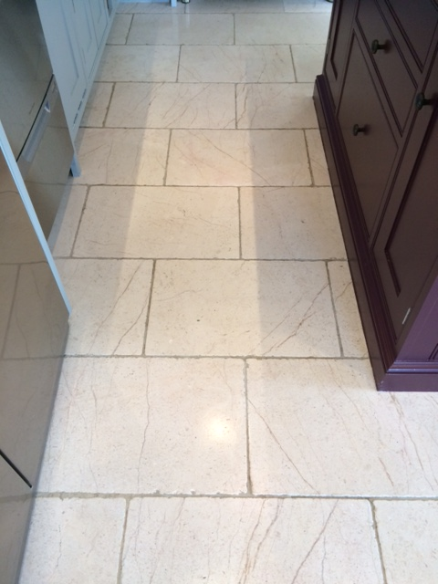 White Limestone Floor After Cleaning in Knaresborough