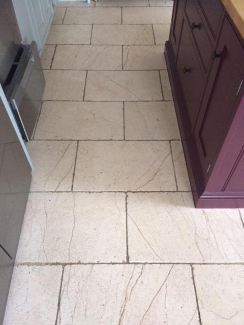 White Limestone Floor Before Cleaning in Knaresborough