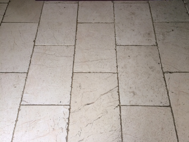 White Limestone Floor Before Cleaning in Knaresborough