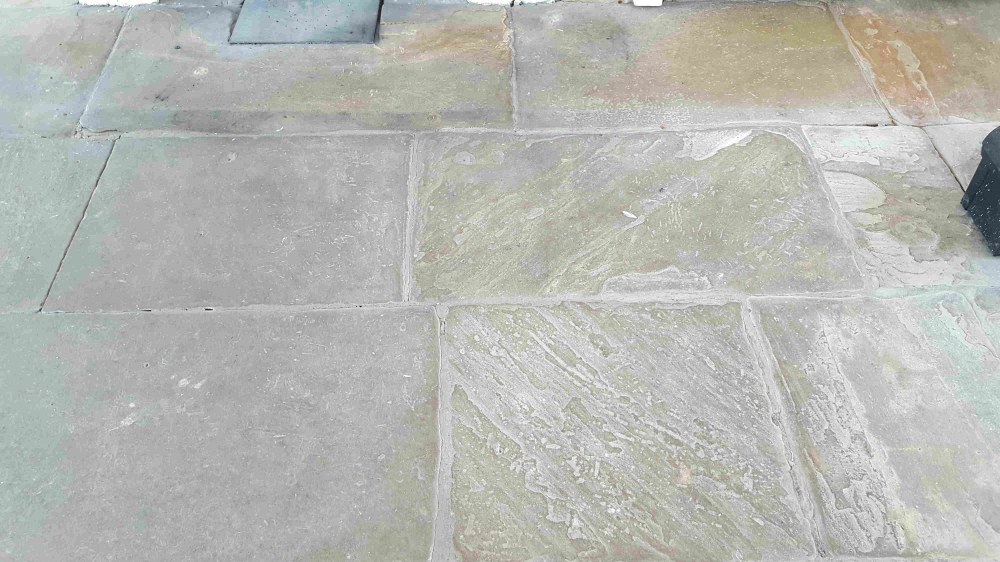 Old Yorkshire Flagstones Before Cleaning Haworth