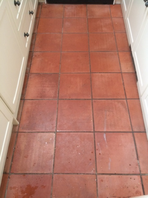 Spanish Terracotta Hallway Before Cleaning Halifax