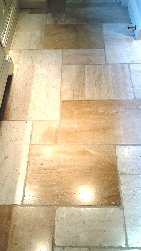 Cream limestone floor after cleaning Harrogate