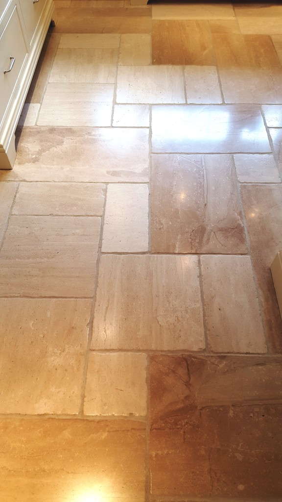 Cream limestone floor after cleaning Harrogate