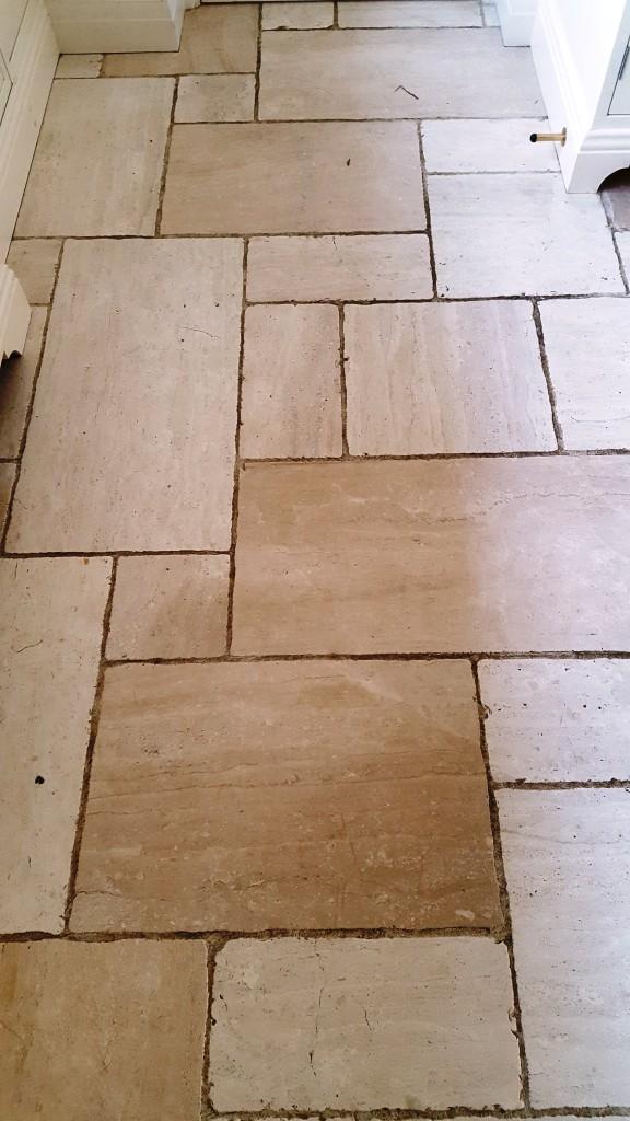 Cream limestone floor before cleaning Harrogate