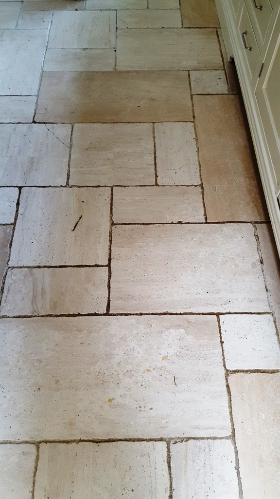 Cream limestone floor before cleaning Harrogate