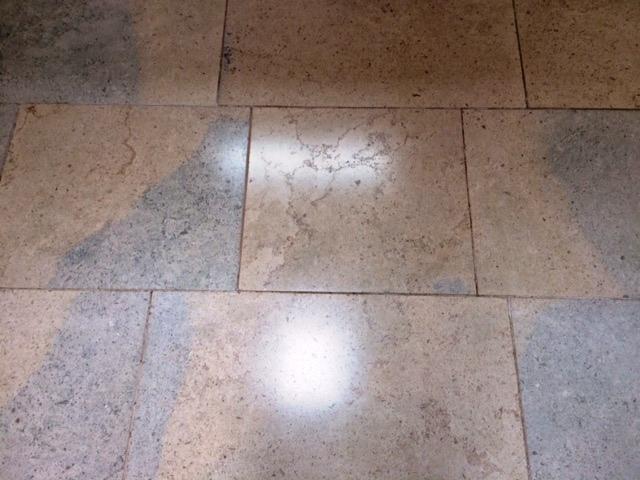 Blue Moleanos Limestone Floor After Polishing in Ripley