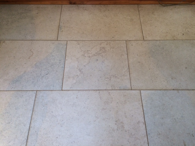 Blue Moleanos Limestone Floor Before Cleaning in Ripley