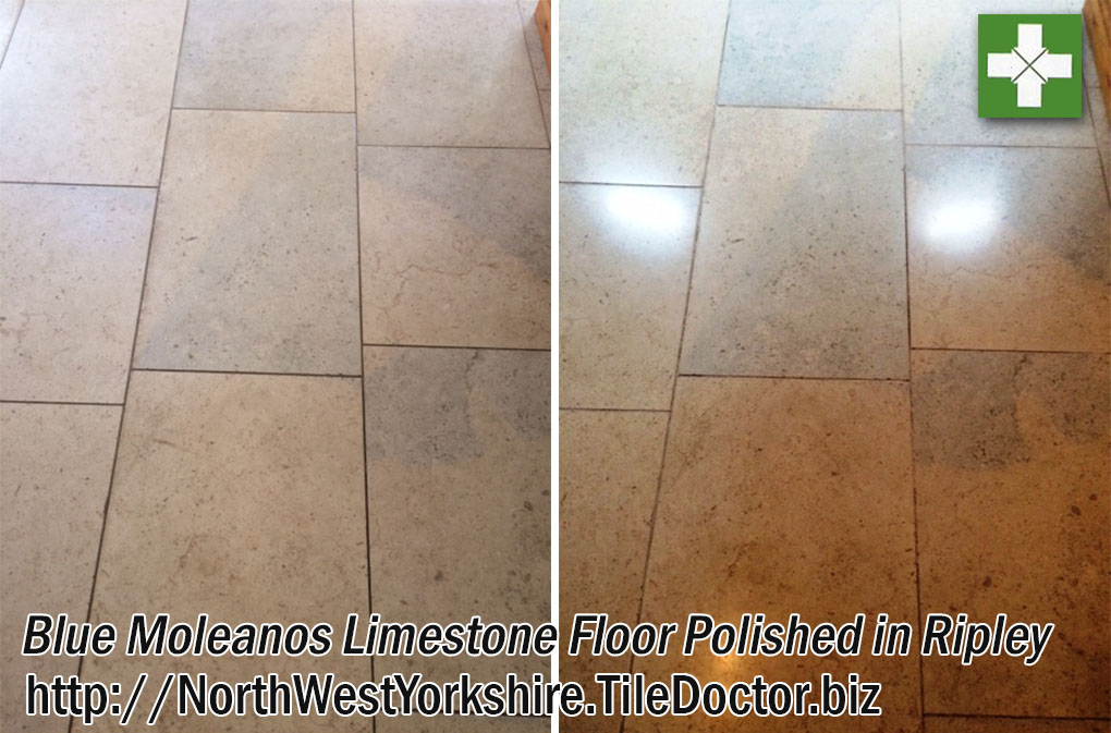 Blue Moleanos Limestone Floor Before and After Polishing Ripley