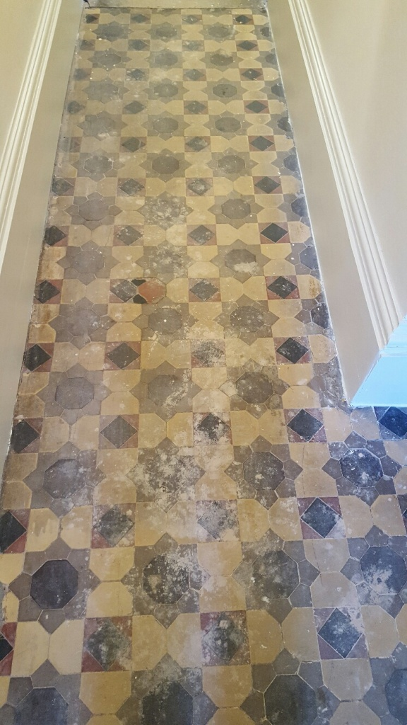 Old Victorian Tiled Floor Before Restoration in Knaresborough