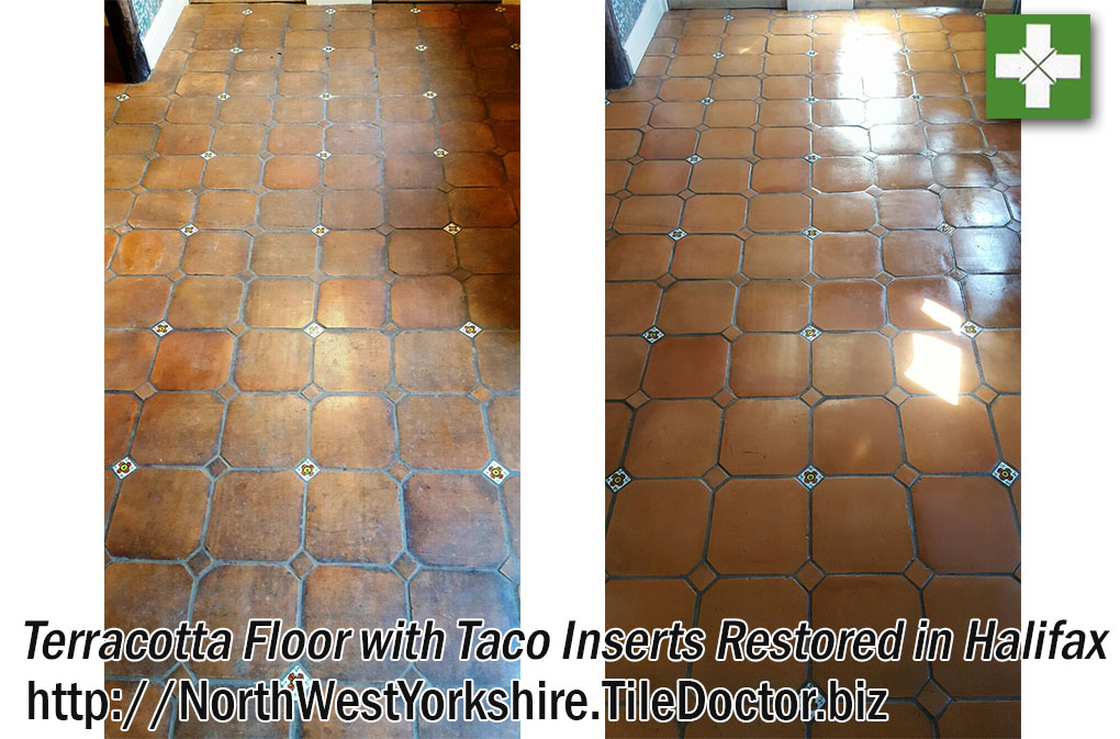 Terracotta Tiled Kitchen Before and After Cleaning Halifax