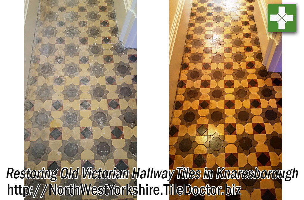 Victorian Tiled Hallway Before and After Restoration Knaresborough