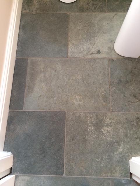 Westmorland Green Slate Floor Before Cleaning in Ripley