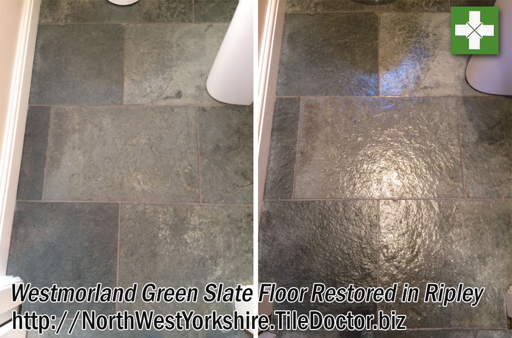 Westmorland Green Slate Floor Before and After Cleaning Ripley