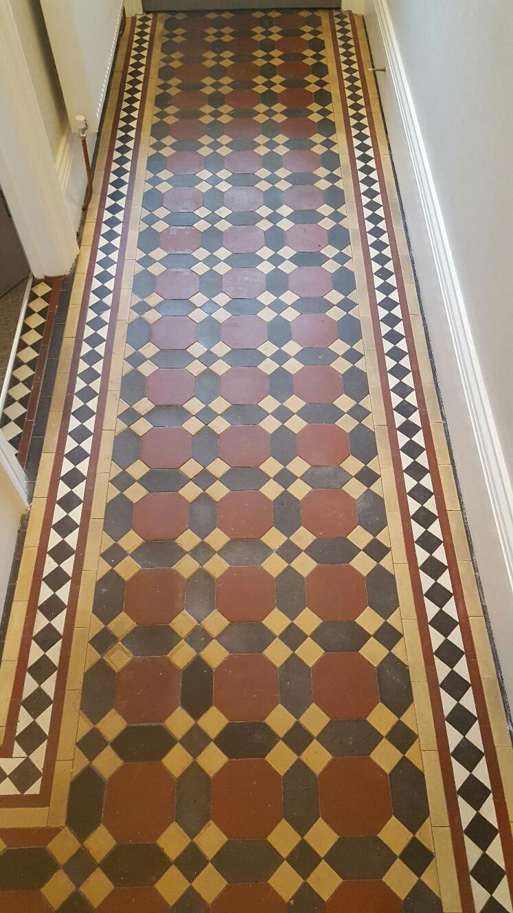 Victorian Tiled Hallway Floor Before Cleaning Leeds