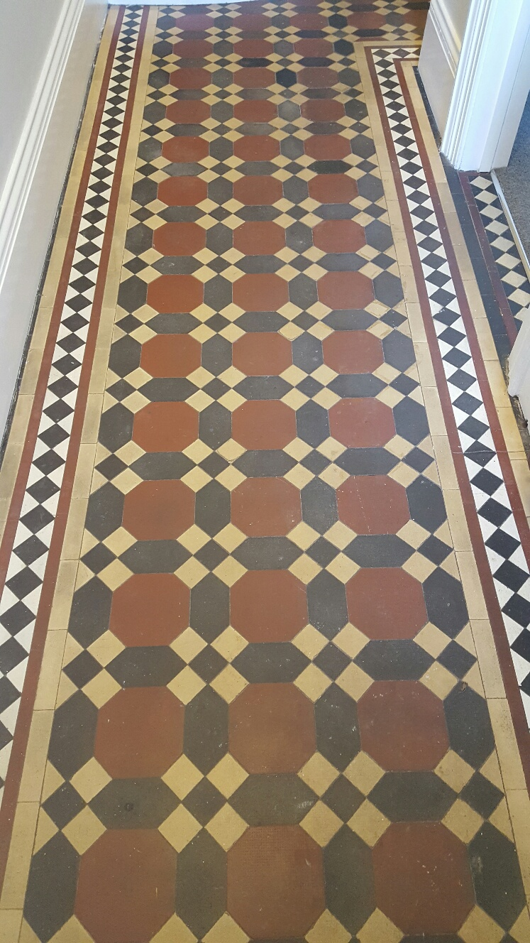 Victorian Tiled Hallway Floor Before Cleaning Leeds