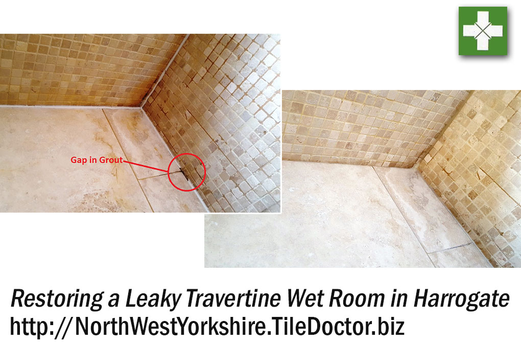 Travertine Wet Room Before and After Restoration in Harrogate