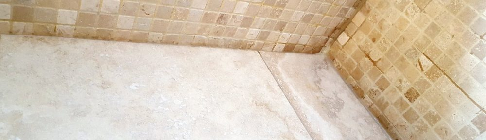 Travertine Wet Room with Leakage Problem Restored in Harrogate