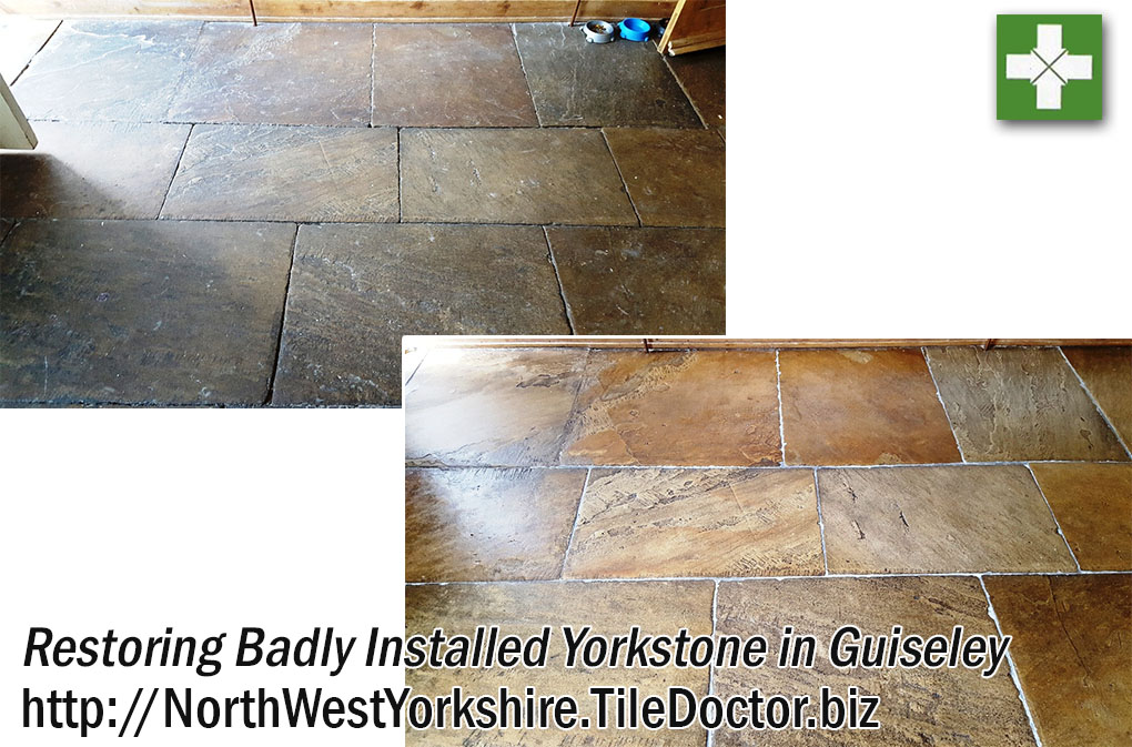 Yorkstone Tiled Floor Before and After Restoration in Guiseley