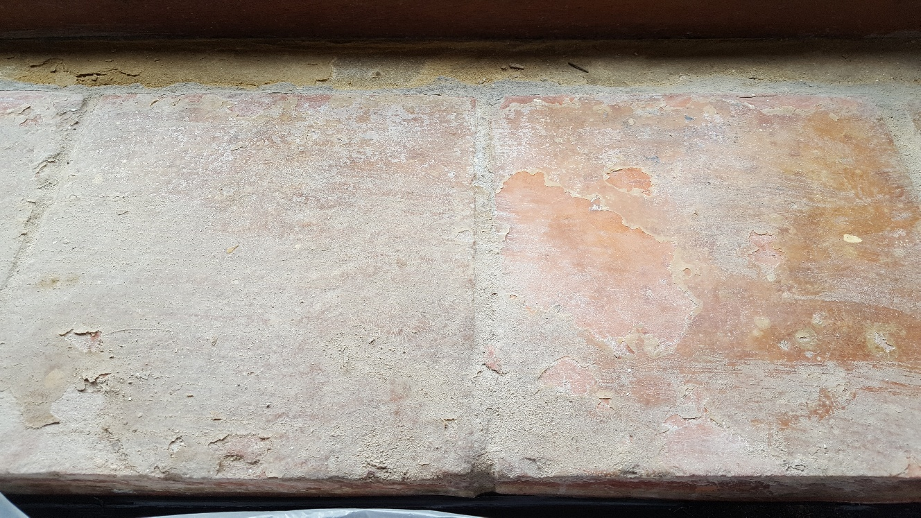 Catalan Terracotta Window Sill Sherburn in Elmet Before Cleaning