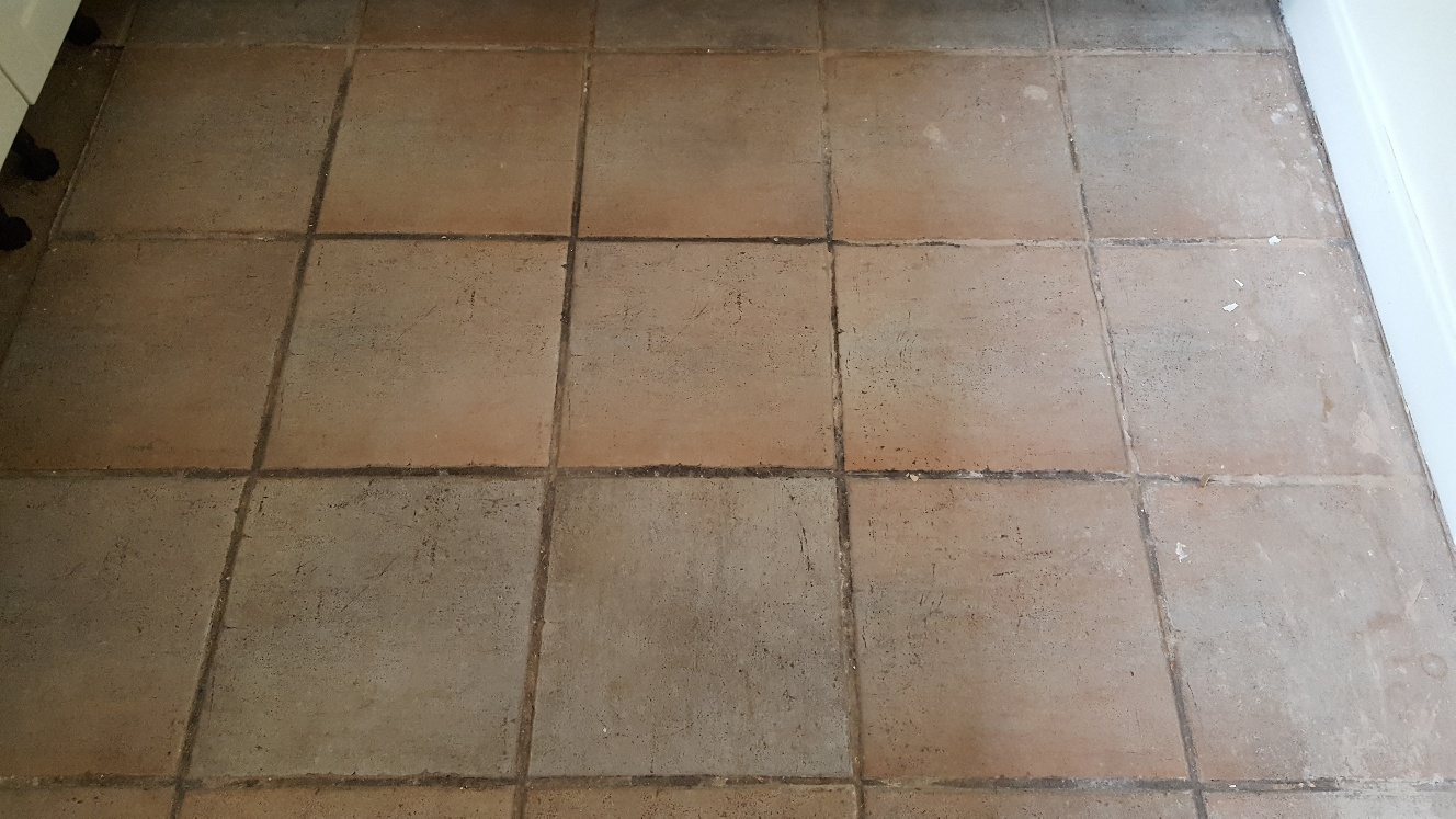 Ceramic Floor Tiles Before Cleaning in Sherburn in Elmet Kitchen