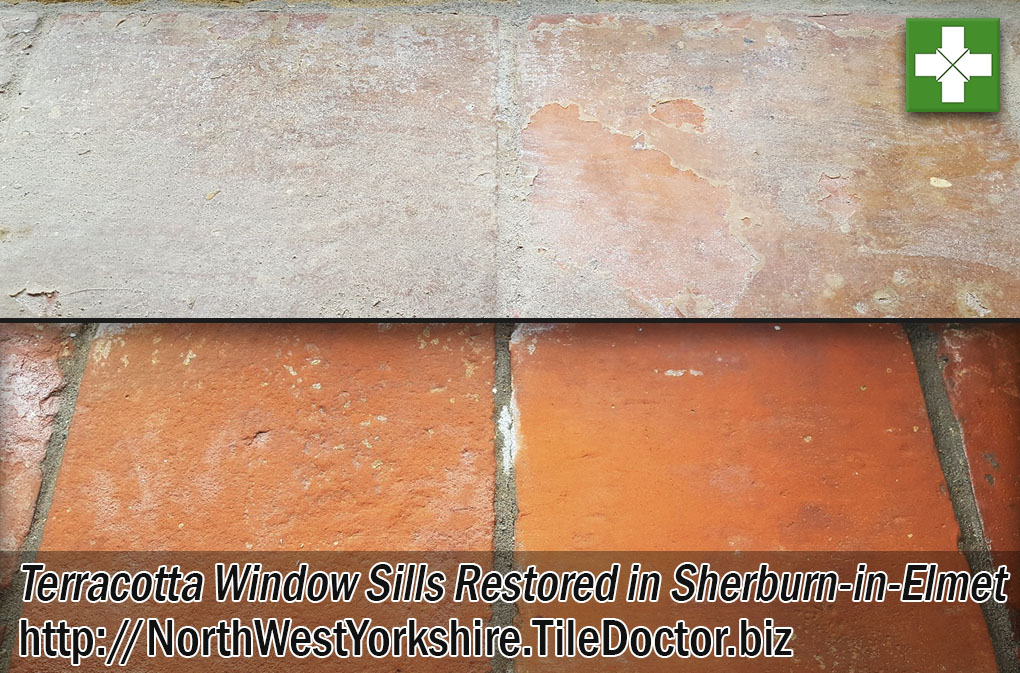 Terracotta Tiled Window Sills Before and After Restoration in Leeds