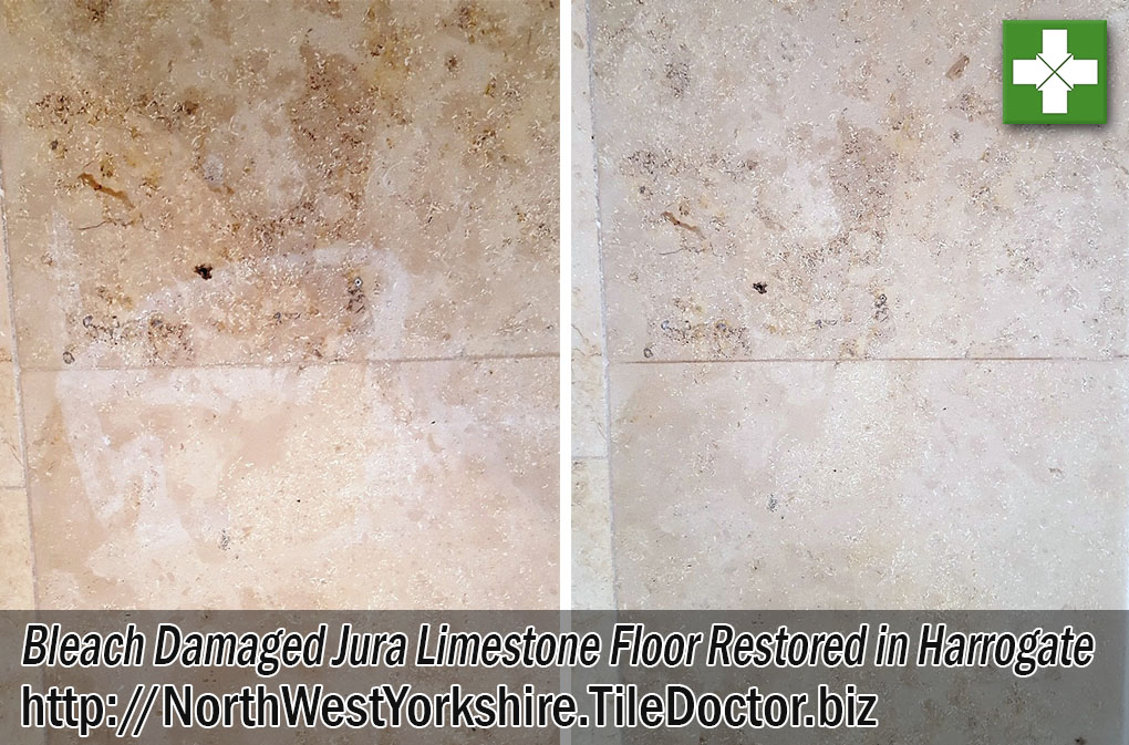Bleach Damaged Jura Limestone Floor Before and After Renovation in Harrogate