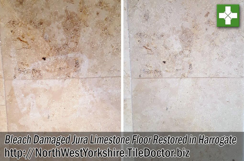 Bleach Damaged Jura Limestone Floor Before and After Renovation in Harrogate