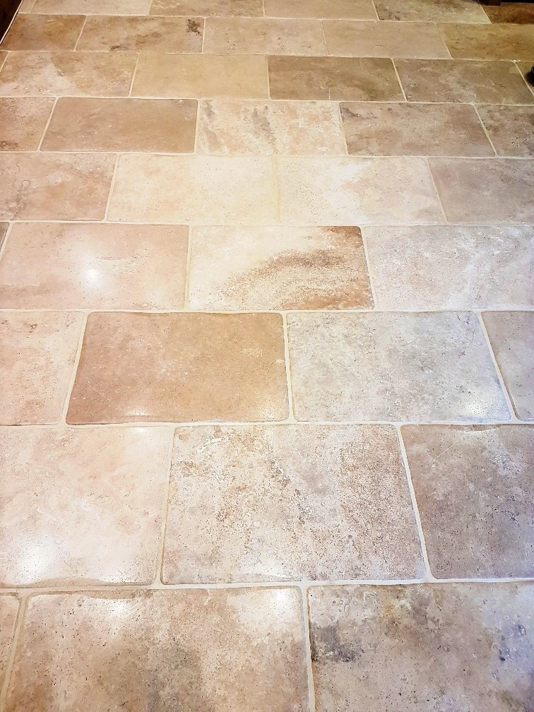 Refinishing Tumbled Travertine Tiles In A Northamptonshire Kitchen