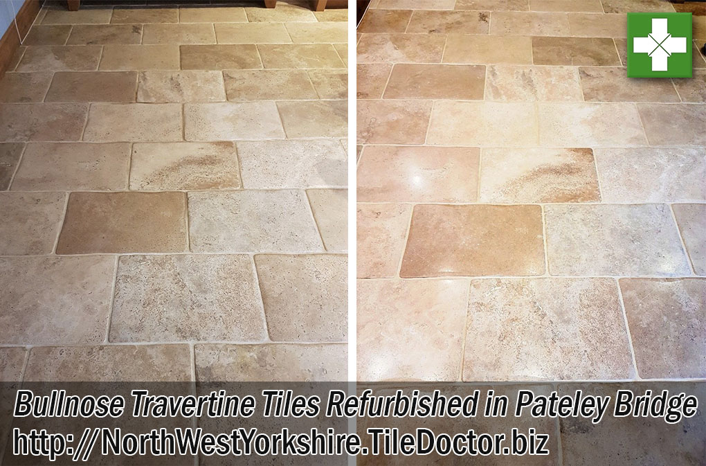 Bullnose Travertine Floor Before and After Cleaning and Sealing in Pateley Bridge