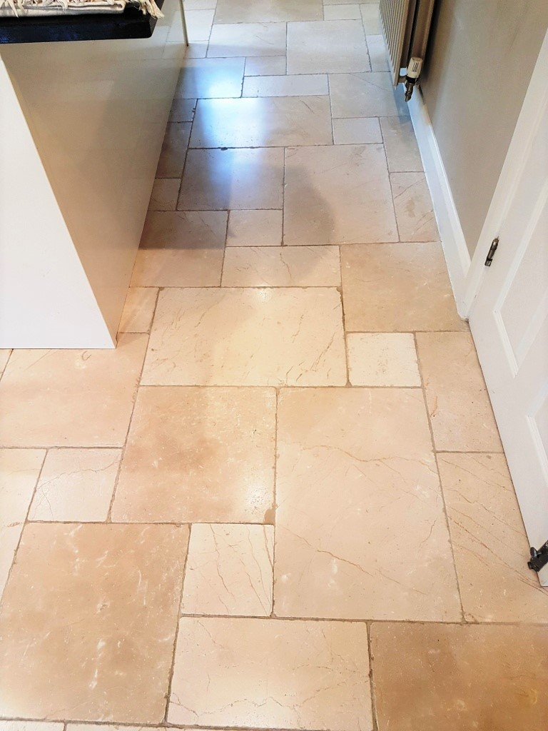 Deep Cleaning White Limestone Tiles In A Oxfordshire Kitchen