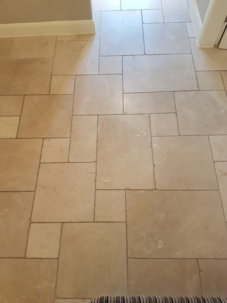 Cream Limestone Floor Tiles Before Cleaning Ilkley