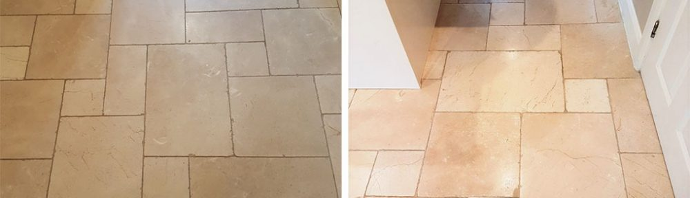 Cream Limestone Tiled Floor Before and After Cleaning in Ilkley