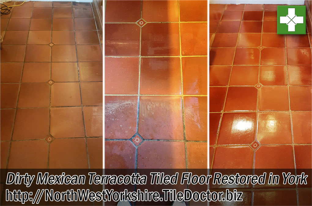 Mexican Terracotta Floor Before and After Restoration in York