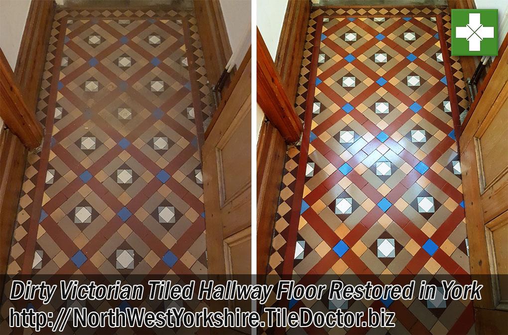 Victorian Hallway Floor Before and After Restoration in York