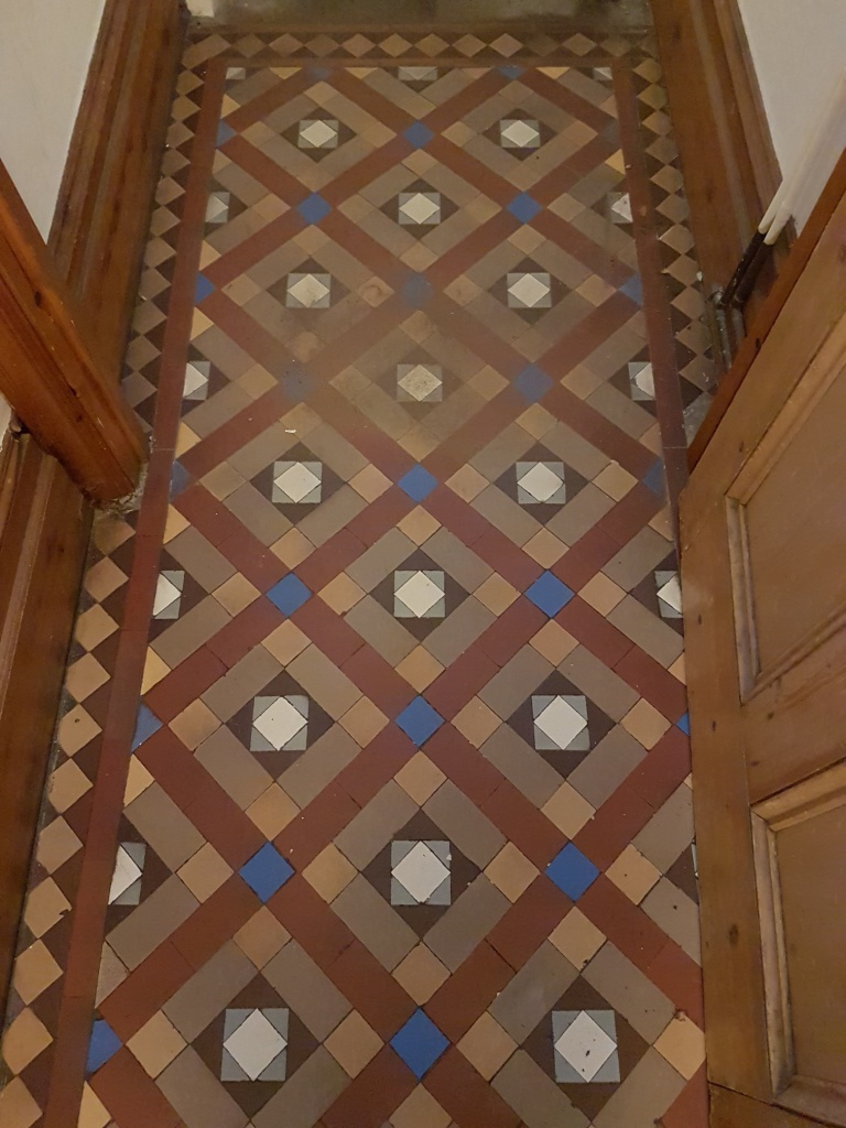 Victorian Tiled Hallway Floor Before Cleaning York
