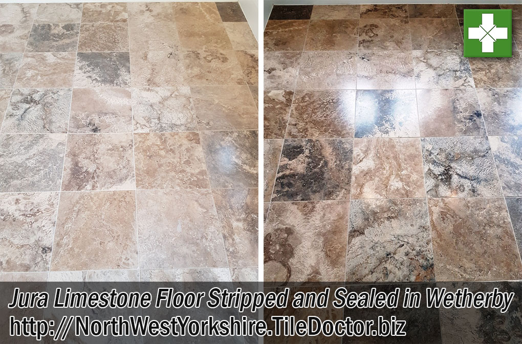 Jura Limestone Floor Before and After Renovation Wetherby