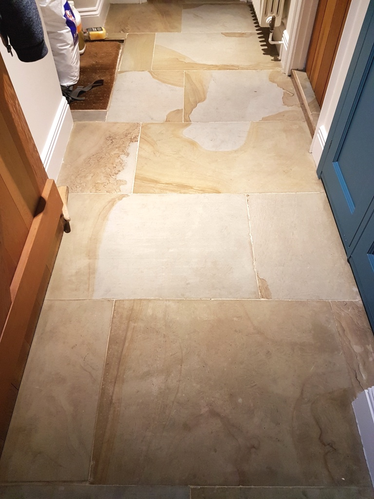 Dirty Lapicida Sandstone Floor After Cleaning Bedale