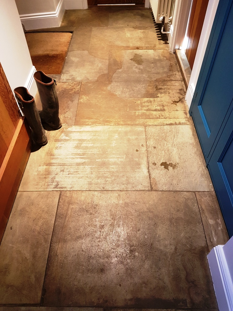 Dirty Lapicida Sandstone Floor Before Cleaning Bedale