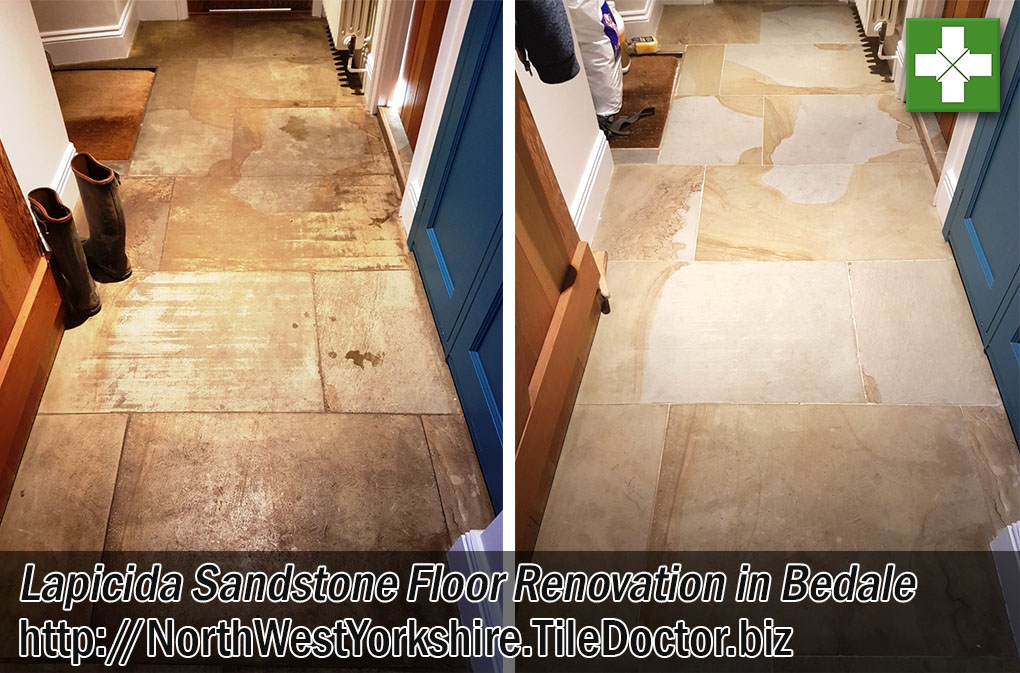 Lapicida Sandstone Tiled Floor Before and After Deep Cleaning Bedale Yorkshire