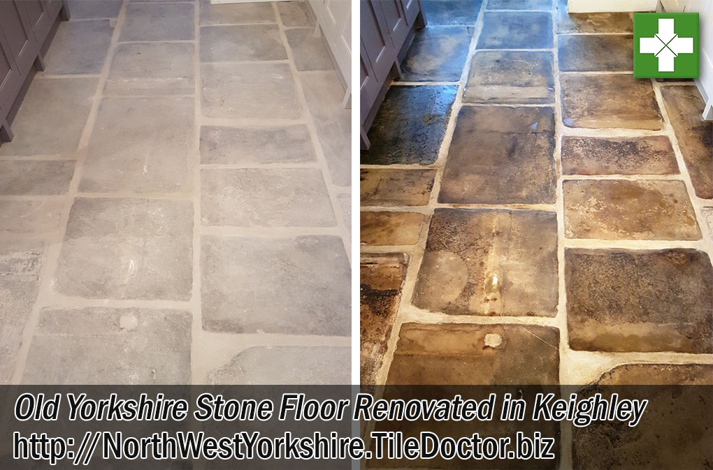 Old Sandstone Tiled Floor Before and After Renovation Keighley