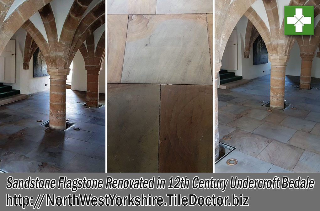 Sandstone Flagstones Before and After Restoration Bedale