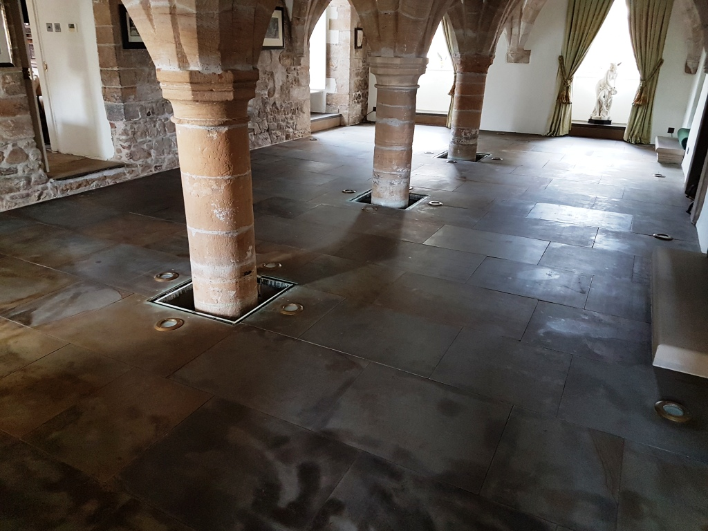 Sandstone Floor Before Cleaning 12th Century Undercroft Bedale