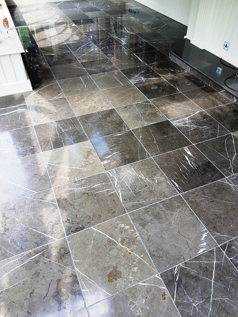 Black Carrara Marble Orangery floor Harrogate After Polishing