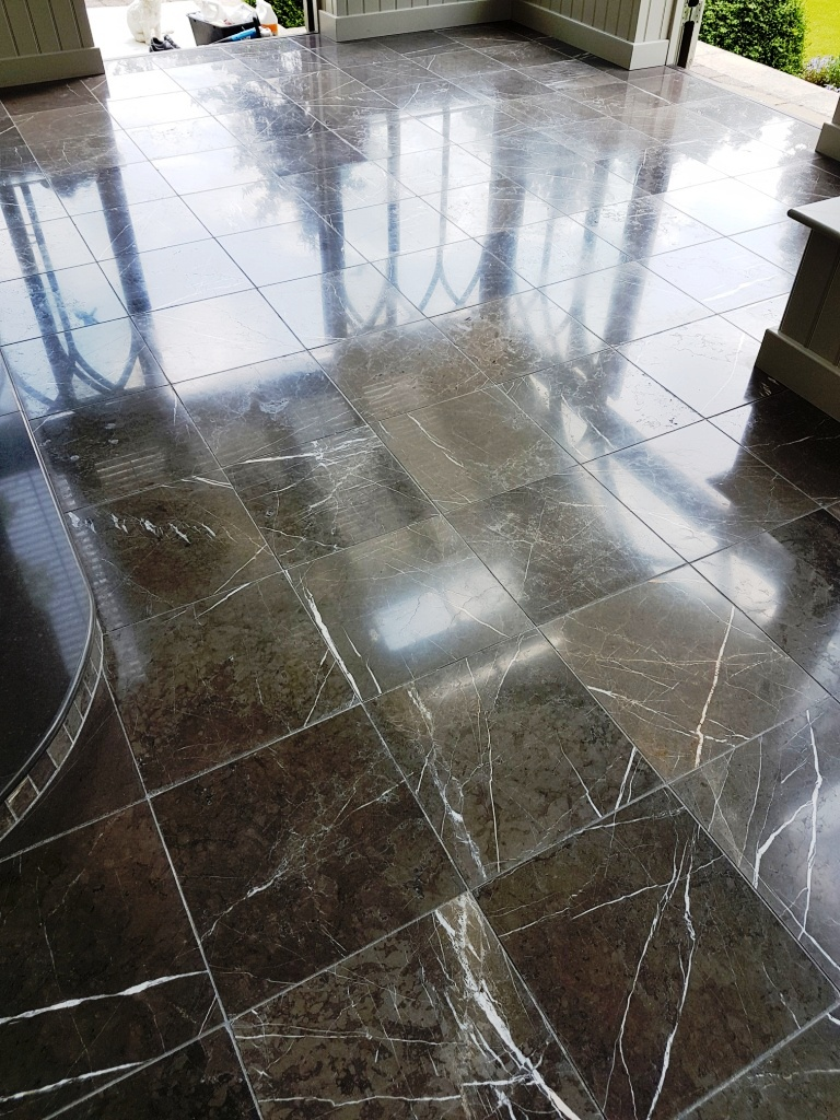 Black Carrara Marble Orangery floor Harrogate After Polishing